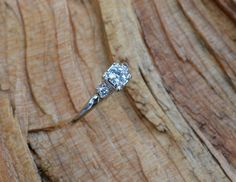 Wears like a Carat  Antique White Gold Diamond by lagnole on Etsy, $1325.00