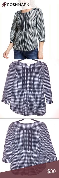 *Final Price* Anthropologie Meadow Rue Gingham Top Sweet button down gingham blouse with 3/4 sleeves and pintucking from Anthropologie. It's in excellent condition and is a size 2. Anthropologie Tops Blouses
