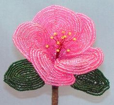 Hibiscus French Bead Flower Pattern at Sova-Enterprises.com Many FREE Bead Patterns and Tutorials available!