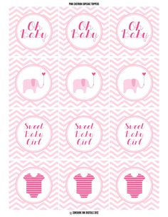 Pink Chevron Baby Shower Cupcake Toppers Printable. $5.00, via Etsy.
