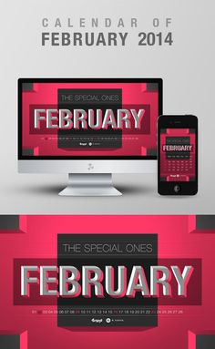 Free Wallpaper Calendar of February 2014