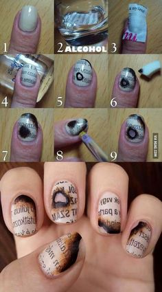 Burnt Paper Nail Art Tutorial.  I love how unique this is!  I'm not sure I love it or not.  It's very old-school romantic.  But it also reminds me of my young & dumb days, when I used to burn my fake nails trying to light the bowl...lol