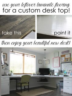 Learn how to use laminate flooring for your desk top with just a few simple steps. You won't believe how easy it is!