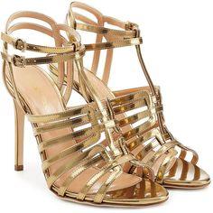 Sergio Rossi Metallic leather sandals- Sandales à talons en cuir métallique