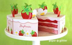 Printable Strawberry Cake Box – red