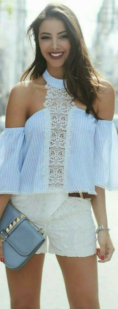 Diy refashion inspiration. Cold shoulder sleeve. Lace accent