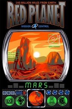 RED PLANET It's 140 million miles from earth! Mars Mission Control shirt is a space ship control system with a mars landscape screen. It also displays technical info such as Gravity Warp and SpaceTime Sync. Perfect for scientists and astronomers. Mission Control, Mission To Mars, Red Planet, Space Ship, Control System, Planets, Earth, Eye, Landscape