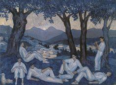 Valentín de Zubiaurre (1879-1967), Paisaje al atardecer con dantzaris, Oleo sobre lienzo 44x59 cm © Colección Carmen Thyssen-Bornemisza