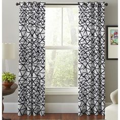 Pointehaven Bridge Black and White Cotton Printed Window Curtain Panel (Set of 2) - 20072591 - Overstock.com Shopping - Great Deals on Pointehaven Curtains