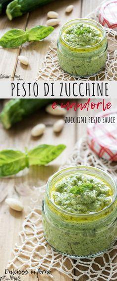 Zucchini and almond pesto and basil: a zucchini cream prepared with … - Photo Stock Pesto Sauce, Pesto Recipe, Pesto Pasta, Vegetarian Recipes, Cooking Recipes, Healthy Recipes, Pesto Dishes, Zucchini Pesto, Mousse