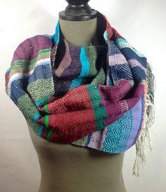 New to pidgepidge on Etsy: Frida | Vibrant Purple Neckwear | Handwoven Amethyst Blue & Rich Magenta Scarf | Woven Striped Heirloom | Jewel Toned Statement Piece