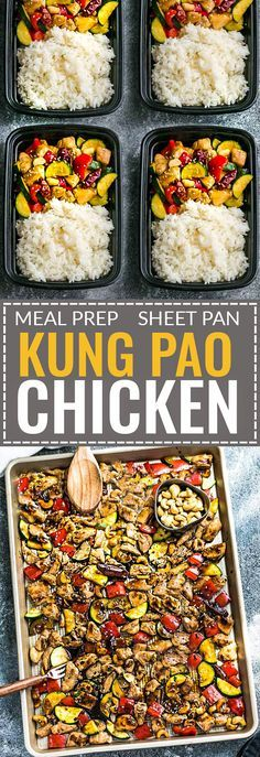 Sheet Pan Kung Pao Chicken Meal Prep Lunch Bowls is an easy all in one meal with all the flavors of the popular Chinese restaurant takeout dish. Best of all, it's perfect for busy weeknights and simple to customize with paleo friendly options and leftover