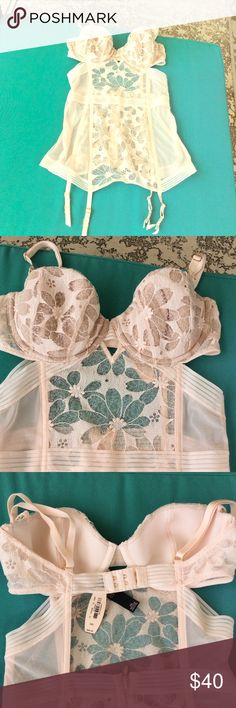 What's under ?  Beautiful one piece Teddy multi. VS BNWT. Pretty ribbon enhanced by floral lace panels. Has bra size 34 C adjustable. Body shaper with built in garter. Pretty blush peach color. Victoria's Secret Intimates & Sleepwear Chemises & Slips