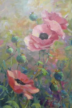 """Morning Poppies"" by Sandra L. Dunn. 36"" x 24"" Oil."