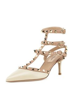 Rockstud Leather Mid-Heel Slingback, Ivory/Poudre by Valentino at Bergdorf Goodman. Droom trouwschoen!
