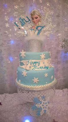 Disney Frozen birthday party Elsa cake! See more party planning ideas at CatchMyParty.com!