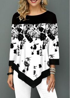 Flower Print Asymmetric Hem Color Block T Shirt