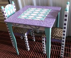 Custom Table And Chair Set Childrens Purple Turquoise Teal Tea Party Set
