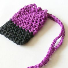 Cotton Crochet Soap Saver, Purple and Black Soap Saver, Crochet Soap Bag, Croche Soap Sack, Ecofrie Black Soap, Cotton Crochet, Purple And Black, Winter Hats, Trending Outfits, Unique Jewelry, Handmade Gifts, Bags, Ganchillo
