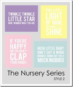 Nursery Rhyme, Baby free word art prints. Resize for project life filler card.