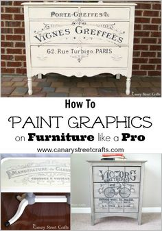 Vintage Furniture We're sharing all our secrets for painting gorgeous furniture graphics! {Canary Street Crafts} - Learn how to paint graphics on furniture like a pro. Step by step instructions including a list of supplies you'll need.