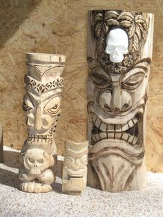Tiki 65 carvings Update New pics & links Pg 6 - Tiki Central Tiki Man, Tiki Tiki, Tiki Tattoo, Tiki Statues, Tiki Totem, Tiki Lounge, Hawaiian Tiki, Homemade Art, Picture Link