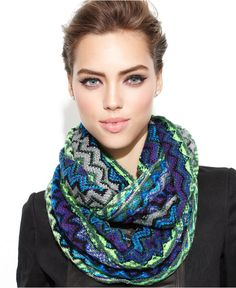 Steve Madden Scarf, Zig Zag Lurex Infinity Loop - Hats, Gloves & Scarves - Handbags & Accessories - Macy's
