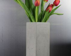 Items similar to Transparent glass tube vase in grey concrete stand on Etsy