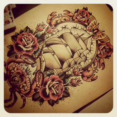 I love the frame around the ship. this is something similar to what I want around my tat of my father. minus the crabs and ship like things lol. the roses and rose buds are my main thing. the butterfly is nice.