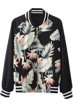 Cool Sportif Outwear Black Long Sleeve Jungle Print Athletic Biker Jacket NEW #Unbranded #Sportif