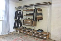 Davis Oak Stained Reclaimed Scaffolding Board And Galvanised Pipe Industrial Open Wardrobe/Dressing Room Shelves, Drawers And Hanging Rails photo 1 Industrial Chic, Industrial Closet, Industrial Shelving, Industrial Design, Pipe Shelving, Closet Shelving, Shelving Units, Pipe Furniture, Industrial Furniture