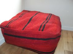 Traditional Red Moroccan Floor Cushion 100% Wool