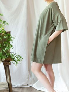 Ethical and sustainable apparel from Line + Tow, exclusively at Lady Farmer. Made of 100% recycled cotton and ethically sewn in Guatemala, the Everyday Dress has a loose, versatile fit and optional waist tie. Recycled Denim, Everyday Dresses, Slow Fashion, Farmer, Pregnancy, Lose Weight, Blue And White, Tie, Lady