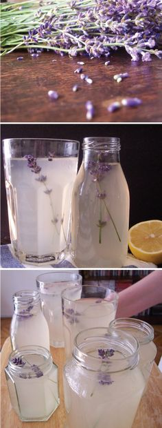 Lavender Lemonade    * 2 cups sugar  * 7 sprigs lavender (stems and buds), plus additional for garnish  * 2 cups fresh lemon juice (from about 10 lemons)  * 1/2 cup fresh lime juice (from about 4 limes)