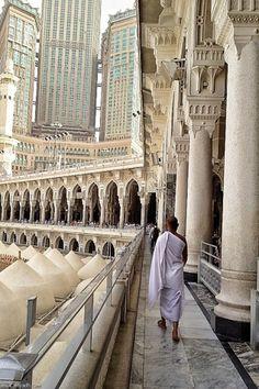 Man Walks on the Second Floor of Masjid al-Haram in Makkah, Saudi Arabia.