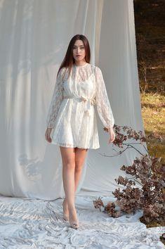 Lace dress, Ivory dress, Oversize dress, Short dress Wedding lace dress Elegant dress