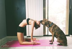 Camel pose & puppy kiss