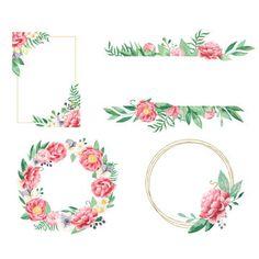 Frames And Wreaths Peony Watercolor Flower Wreath, Floral Watercolor, Watercolor Wedding, Strawberry Flower, Wooden Wreaths, Pink Plant, Flower Invitation, Frame Wreath, Wedding Frames