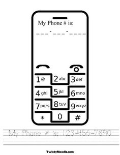 Great Way Kids Can Practice Their Telephone Number!!!!  Telephone Worksheet from TwistyNoodle.com