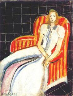 Simone in striped armchair : Henri Matisse - 1942