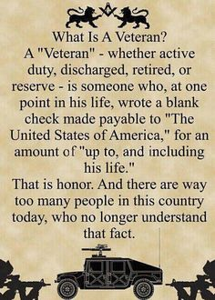 What is a Veteran? Love you Dad.
