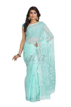 Ada Hand Embroidered Green Kota Lucknowi Chikankari Saree With Blouse - A183879 Price Rs.1,790.00 #Ada_Chikan #chikan sarees online india #lakhnawi saree #lakhnavi embroidery sarees #lucknow work saree #lucknowi chikan saree for women #lucknow chikan dress material #lucknow dress #cotton lakhnavi saree