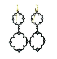 """Each of these Arman """"Lotus"""" style earrings is made of oxidized sterling silver set with 10 round brilliant cut diamonds."""