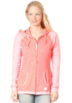 BENCH Womens ACK Hooded Zip Sweat FIERY CORAL #planetsports