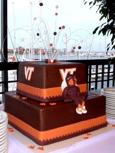 side shot of hokie bird cake - this was just another angle of the 8 and 12 in hokie bird cake done in choc. bc.