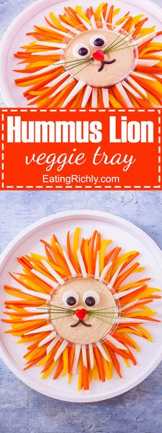 Kids and adults love this cute lion vegetable tray so much, they will stuff themselves on veggies without even realizing it! From EatingRichly.com in partnership with Sabra.