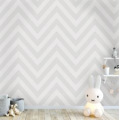 This beautiful Chevron Zig Zag Wallpaper would make a great statement in your home with its simple yet striking soft grey and pale grey chevron stripe pattern