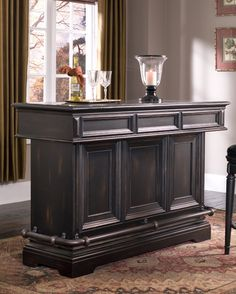 Brookfield Home Bar in Ebony Black by Pulaski - Home Gallery Stores