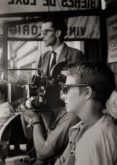 """Jean-Luc Godard, Jean Seberg on the set of """"À bout de souffle (Breathless)"""" Directed by Jean-Luc Godard. Nouvelle Vague Behind the scenes photos. French Movies, Old Movies, Classic Movies, Jean Seberg, Movie Stars, Movie Tv, Movie Theater, French New Wave, Photo Star"""