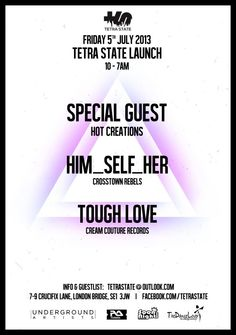 Tetra State | 7-9 Crucifix Lane | London | https://beatguide.me/london/event/7-9-crucifix-lane-tetra-state-launch-with-hot-creations-special-guest-20130705